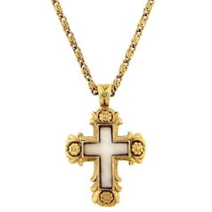 Purity of Soul Gold and Mother of Pearl Cross Necklace