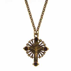 Gold and Ruby Crystals Cross Necklace