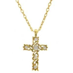 Gold and Clear Crystal Cross Necklace