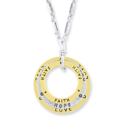Heavenly Messages Gold & Silver Hope Faith & Love Hoop Necklace