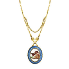 Oval Pendant Cherub Necklace