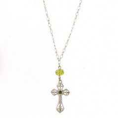 Silver Green Crystal Cross Necklace