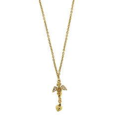 Golden Angel Heart Drop Pendant Necklace
