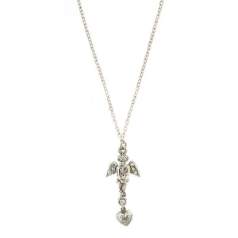 Silver Angel Heart Drop Pendant Necklace