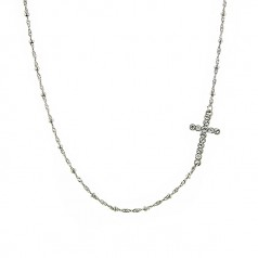 Silver Diamond Cut Crystal Cross Necklace