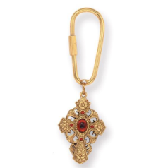 Floral Filigree Ruby Hued Cross Key Ring