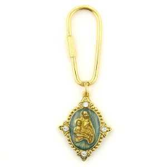 Heavenly Devotion Gold Tone Madonna and Child Key Ring