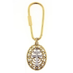 Two Tone Framed Patriarchal Cross Key Ring