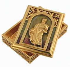 'Church of San Silvestro's' St. Peter Gold - Enamel Rosary Box