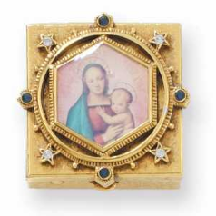 Enamel Mother & Child Gold, Sapphire, Clear, Swarovski Crystals Pill Box
