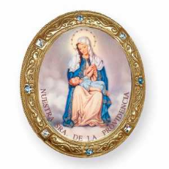 Our Lady of Providence Gold & Swarovski Crystals Vatican Rosary Box NA