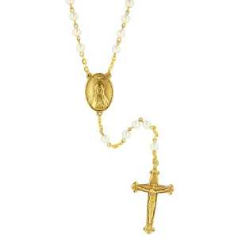 Gold Tone With Simulated Pearls Rosary