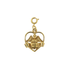 Heart Charm With Cherub and Love Banner