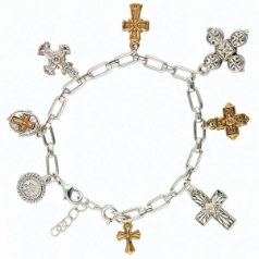 Two Tone Seven Cross Charm Bracelet