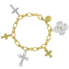 Dogwood Collection Single Bloom and Crosses Charm Bracelet