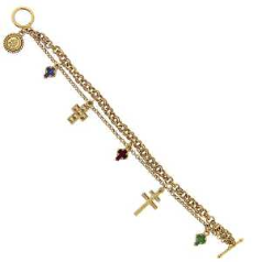 Many Expressions Multiple Cross Charm Bracelet