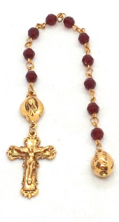 "Gold-Tone Red Beaded Cross Necklace 16""Adj."