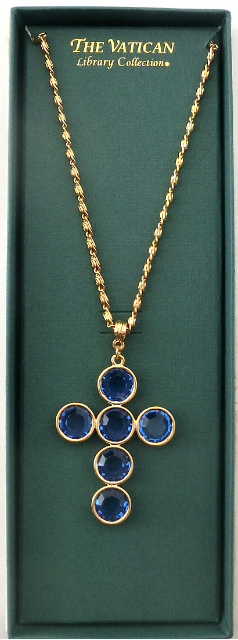 Sapphire Accented Vatican Library Cross Necklace