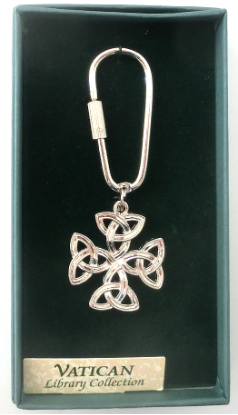 Silver Celtic Cross Vatican Key Ring NA