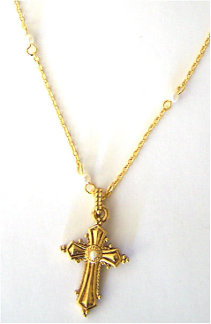 Gold - Pearl Cross Necklace