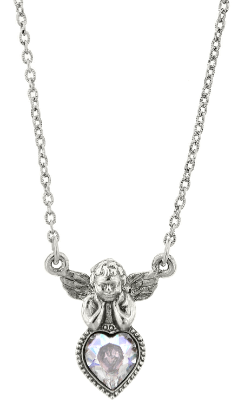 Silver & Crystal Angel Heart Necklace
