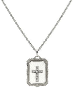 Silver-Tone Frosted Stone with Crystal Cross Large Pendant Necklace 18""