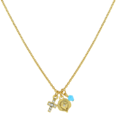 14K Gold-Dipped Miniature Charm Trio Necklace