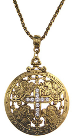 Writers of the Good Word Gold Tone Cross Necklace