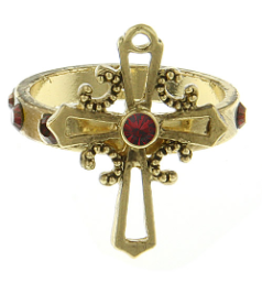 Gold Siam Red Cross Ring