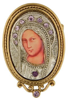 Silver and Gold Purple Crystal Iconica Mary Brooch