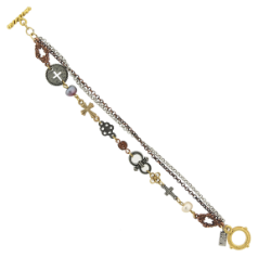 Mixed Metal Cross Charm Toggle Bracelet