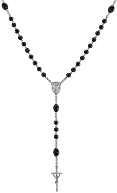 Papal Silver Tone & Jet Black Beads Rosary