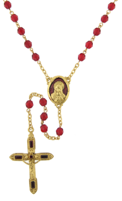 Siam Red Crystals Gold Tone Rosary