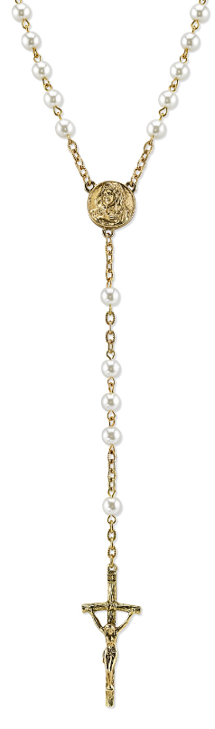 Papal Commemorative Gold & Pearls Rosary