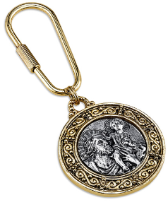 Gold and Silver-Tone St. Christopher Key Fob