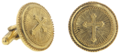 Gold Round Cross Cuff Links