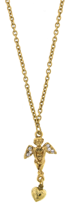 "Gold-Tone Angel Heart Necklace 16""Adj."