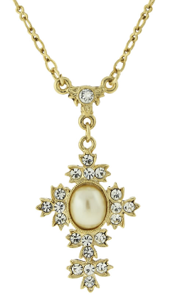 "Gold Tone Simulated Oval Pearl Crystal Cross Necklace 16""Adj."