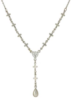Silver Tone Cross Chain Y Necklace