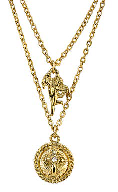 14K Gold Dipped Angel and Cross Pendant Double Strand Necklace
