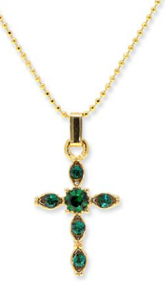Emerald Green Crystal Cross Necklace