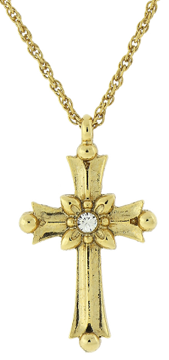"Gold-Tone Crystal Cross Necklace 16""Adj."