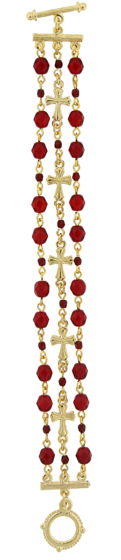 Gold-Tone Red 3-Row Bead and Cross Toggle Bracelet
