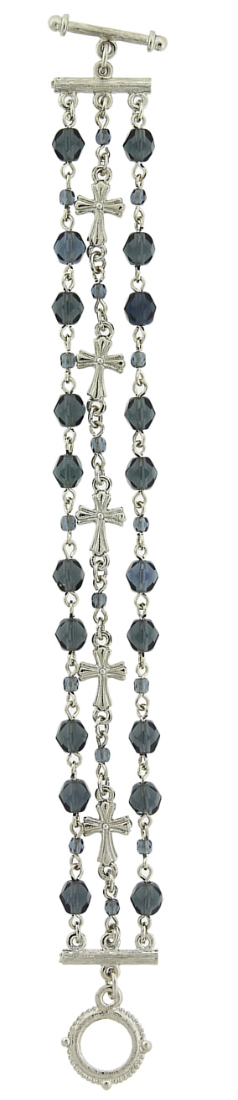 Silver-Tone Blue 3-Row Bead and Cross Toggle Bracelet