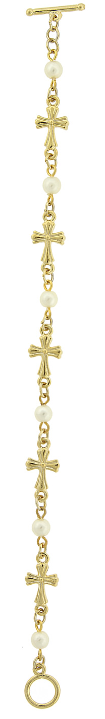 Gold-Tone Simulated Pearl Cross Toggle Bracelet