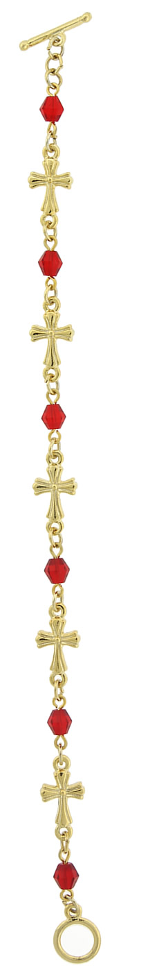Gold-Tone Red Cross Toggle Bracelet