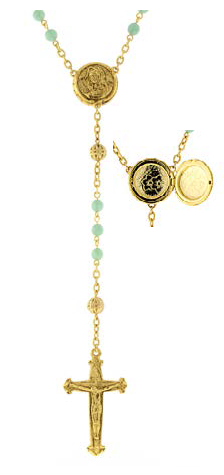 Gold Tone Green Beaded Rosary with Mary Locket Centerpiece