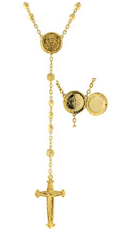 Gold Tone Gold Beaded Rosary with Mary Locket Centerpiece