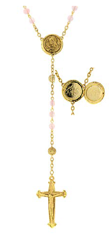 Gold Tone Pink Beaded Rosary with Mary Locket Centerpiece