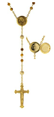Gold Tone Topaz Beaded Rosary with Mary Locket Centerpiece